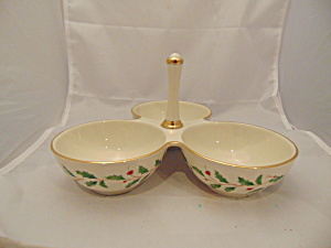 Lenox Holiday Condiment 3 Part Handled Dish