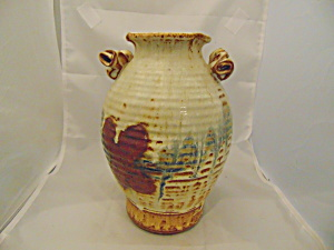 Doug Nelson 9.75 in. Tall Vase Signed Handles MINT Handmade in Sedona (Image1)