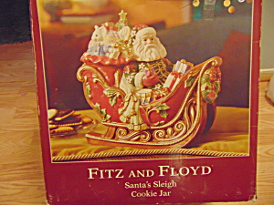 Fitz & Floyd Santa's Sleigh Cookie Jar in Box (Image1)