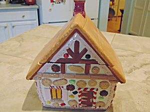 Large Gingerbread House Ceramic Cookie Jar (Image1)