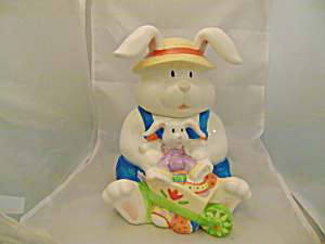 Flopping Ears Rabbit and Baby Ceramic Cookie Jar  (Image1)