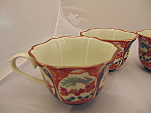 Imari Scalloped Rim Footed Coffee/tea Cups