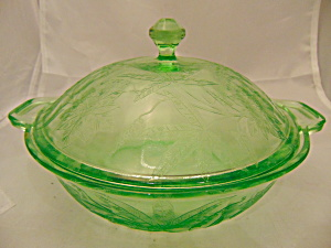 Jeannette Floral Lime Green Etched Covered Casserole Vintage