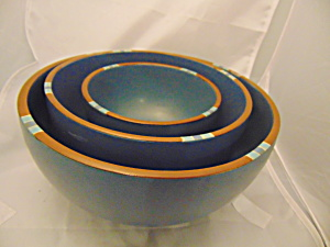 Dansk Sky Blue Mesa Set Of 3 Stacking Mixing Bowls Portugal