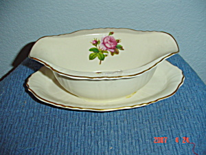 Syracuse China Rosalie Gravy Boat W/attached Tray
