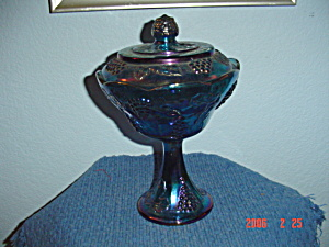 Beautiful Blue Colony Carnival Glass Grape Vine Cover Compote