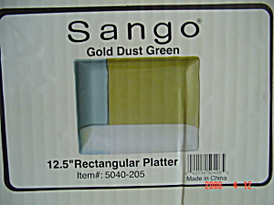 New Sango Gold Dust Green Rectangle Platters