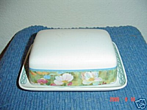 Mikasa Floral Meadow Covered Butter Dish