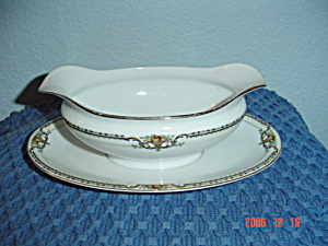 Noritake Lasalle Red M Gravy Boat W/attached Plate