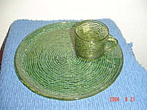 Fire King Soreno Green Snack Plates And Cups