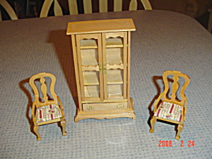Doll House Furniture - Hutch And 2 Chairs