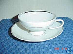 Rosenthal White/silver Cups And Saucers