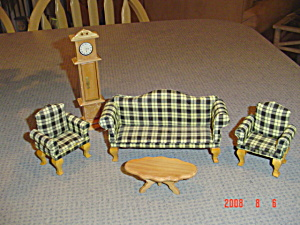Green Plaid Living Room Set For Doll House