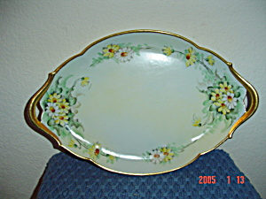 Limoges France Oval Handled Daisy Design Platter