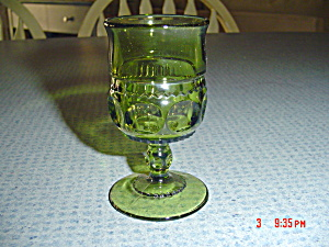 Indiana Glass Thumbprint Tiara Green Cognac Glass (Image1)