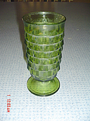 Whitehall Fostoria Indiana Glassgreen Footed 5.25 In. Tall Glass