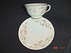 Pope Gosser Sterling Cups/saucers - Gold Trim, Pink Flo