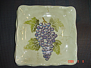 Tabletops Lifestyles Cabernet Blue Grapes Square Salad Plate