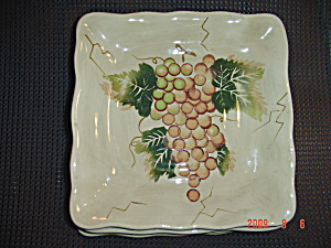 Tabletops Lifestyles Cabernet Brown Grape Square Salad Plate