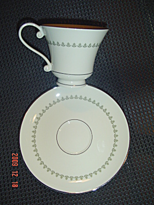 Pickard Greenbrier Footed Cups And Saucers