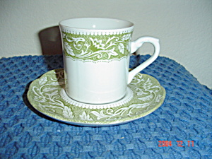 J & G Meakin Renaissance Green Cups And Saucers