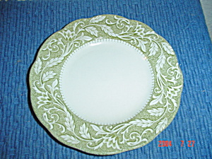 J & G Meakin Renaissance Green Dinner Plates - Crazed
