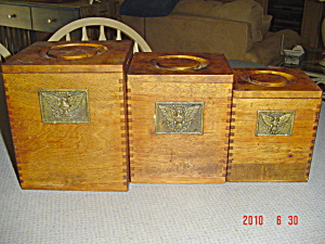 Wood Canister Set With Eagle Emblems