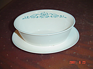 Franciscan Blue Fancy Gravy Boat W/attached Tray