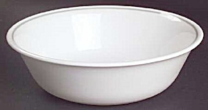 Corelle White/gray Stripe Ribbon Bouquet Soup Cereal Bowls