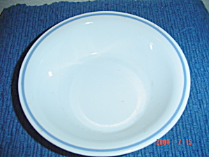 Corelle Medium Blue Stripe On White Soup/cereal Bowls