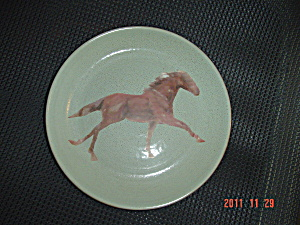 Home Sage Salad Plates - A Running Horse Decal