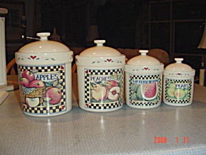 Susan Winget Vegetable And Fruit Canister Set Of 8 Pcs.