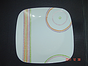 Corelle Square Lunch Plates Multi Stripe And Circles