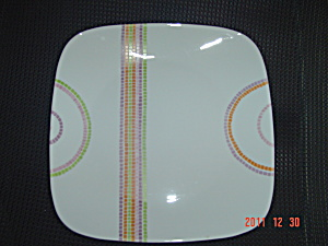 Corelle Square Dinner Plates Multi Stripe And Circles