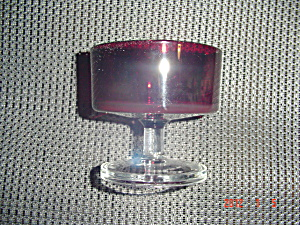 Vintage France Red W/clear Pedestal Sherbet/short Champagne 1970's