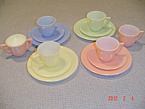 Vintage Macbeth Evans Children's Pastel & White Demitasse Cups/saucers