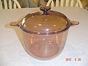 Pyrex/corning/visions Amber 3.5 Liter Covered Dutch Oven/stock Pot