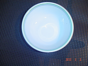 Corelle Cereal Bowls - White W/blue Ring And Green Ring Trim