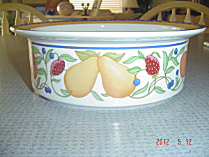 Dank Fiance Fruits Rimmed 9 in. Serving Bowl - Orange Rim (Image1)