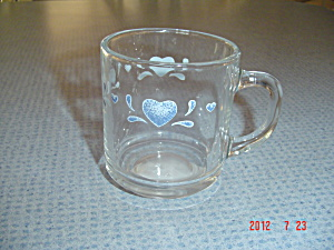 Anchor Hocking Blue Hearts Clear Mugs Matching Corelle Pattern
