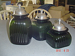 Green Glass Canisters Set Of 3 W/metallic Covers
