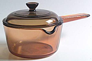 Visions Amber 1 Liter Covered Saucepan With Pour Spout