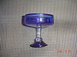 Lot Of 4 Cobalt Blue Sherbet/short Champagne Glasses W/clear Stem