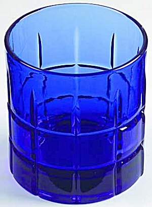 Anchor Hocking Tartan Plaid Cobalt Rocks/old Fashioned Glasses