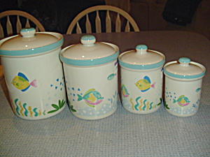 Mikasa Studio Nova Barrier Reef Covered Set Of 4 Canisters