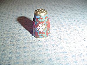 Metal Cloisonne Thimble - Asian Writing