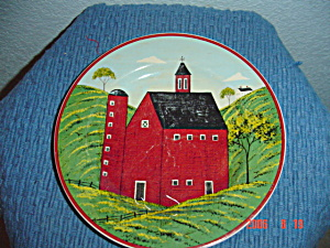 Sakura Country Life Warren Kimble Red Barn Salad Plate