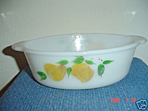 Fire King Gay Fad Pear 1.5 Qt. Oval Casserole