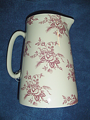 Crown Burslem Wood And Son Colonial Rose Pink 2 Quart Serving Pitcher