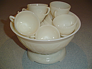 Anchor Hocking Tiara Ivory Punch Bowl Set, Stand, 12 Cups